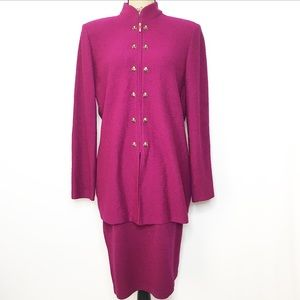 St. John Collection Magenta Wool Blazer Skirt Set